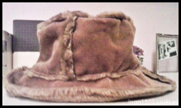 Super karmelowy kapelusz na zimę TANIO jak nowy