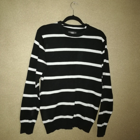 H&M Męski czarno biały sweter w pasy 38