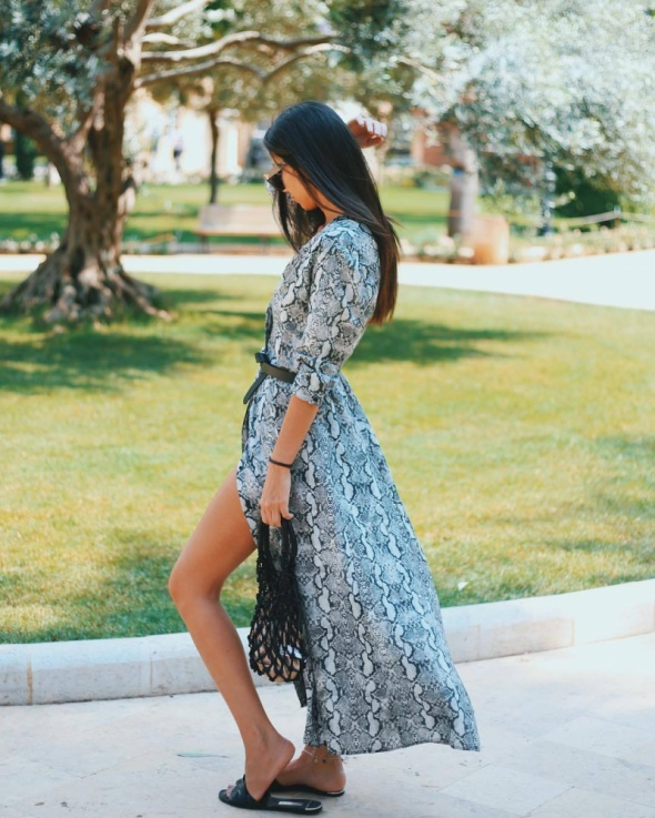 Zara sukienka maxi snake 34 xs nowa blog