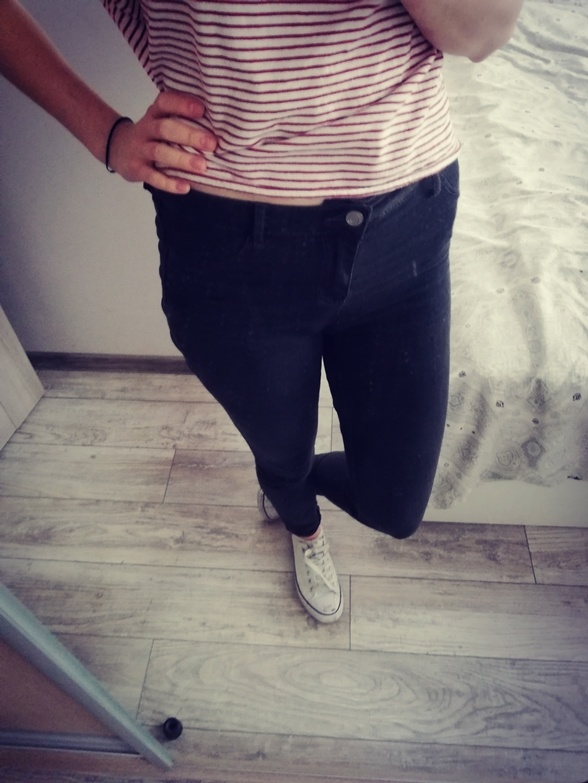 Grafitowe skinny jeansy Sinsay S...