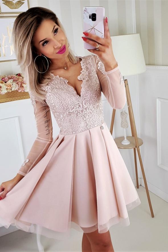 cbddd3ee92 Piękna sukienka koronka długi rękaw beżowa w Suknie i sukienki ...