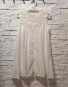 sukienka S M L koronka lace boho nude vintage zwiewna biała...