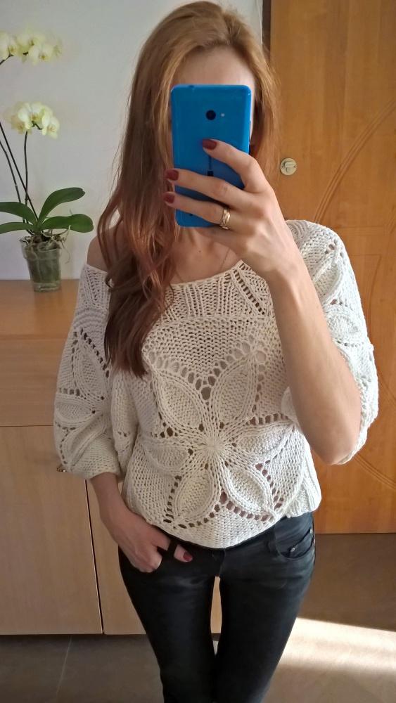 Biały ażurowy sweterek S M