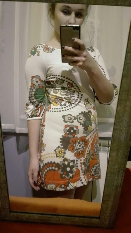 Suknie i sukienki Sukienka w literę A trapez print etno kwiaty