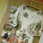 Sukienka w literę A trapez print etno kwiaty