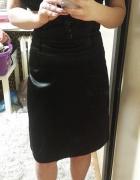 Czarna satynowa spódnica ołówkowa elegancka wyższy stan...
