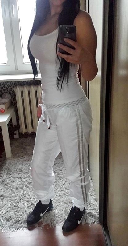 Dresy białe Redial spodnie dresowe wstawki lampasy troczki orta...