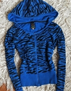 Niebieska bluza zebra Troll kobaltowa chabrowa granatowa zeberk...