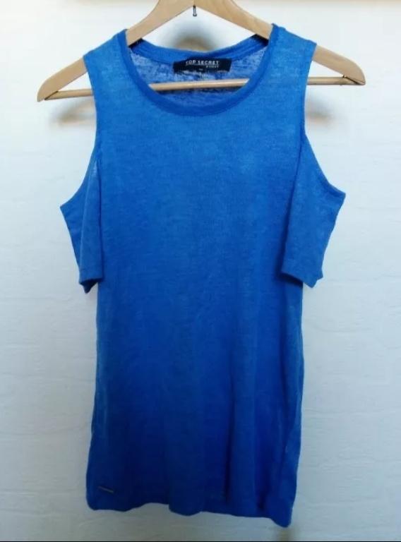 Niebieska bluzka z wycięciami na ramionach r 36