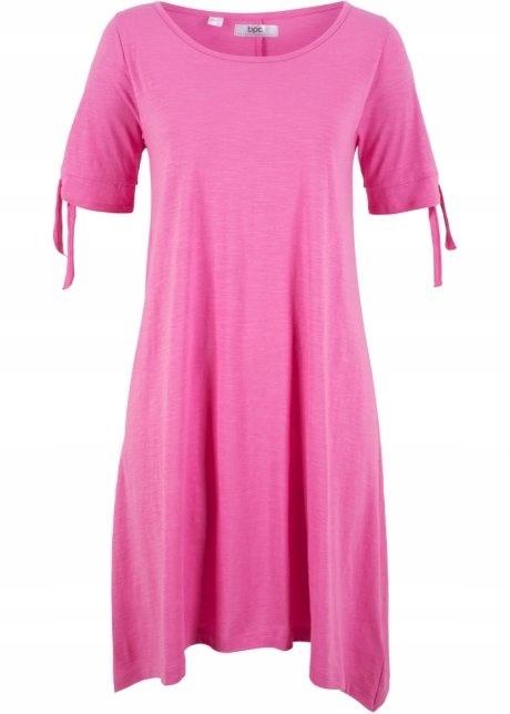 Asymetryczna różowa sukienka bawełna...