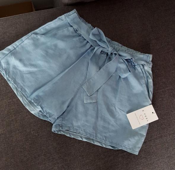 jasne jeansowe luźne spodenki z kokardą