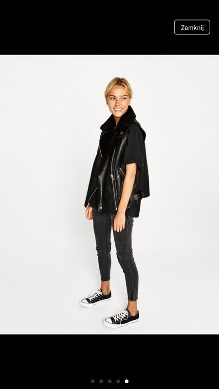 H&M kamizelka bezrękawnik kożuch narzuta czarny błyszczący połyskujący