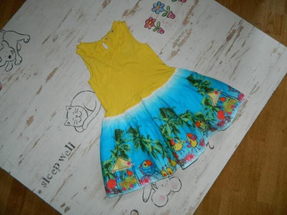 GEORGE cudna sukieneczka papugi tukany roz 110 116