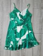shein romwe sukienka liście tropikalny wzór L 40 falbanki...