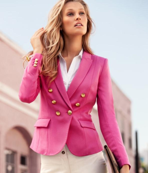 H&M różowa marynarka ze złotymi guzikami