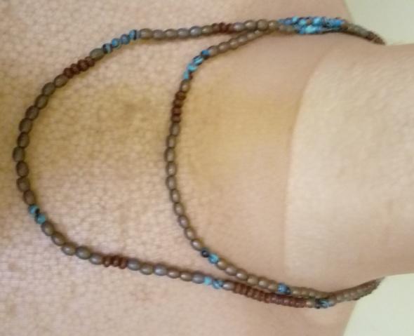 koraliki niebieskie szare brązowe długie
