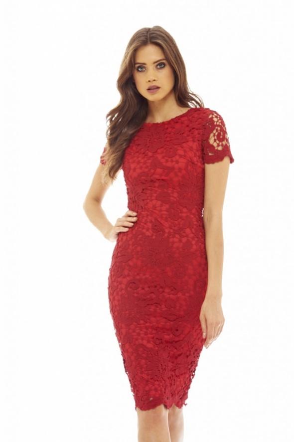111f781f10 Czerwona koronkowa sukienka ołówkowa midi w Suknie i sukienki - Szafa.pl