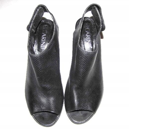 CARINII czarne sandały botki ażurowe skóra r 38