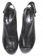 CARINII czarne sandały botki ażurowe skóra r 38...