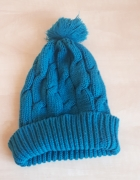 modna czapka zimowa seledynowa niebieska morska z pomponem...