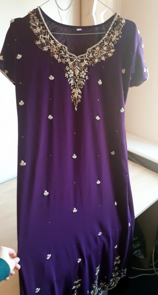 09e34abe fioletowa egzotyczna suknia maxi arabska bogato zdobiona złoto ...