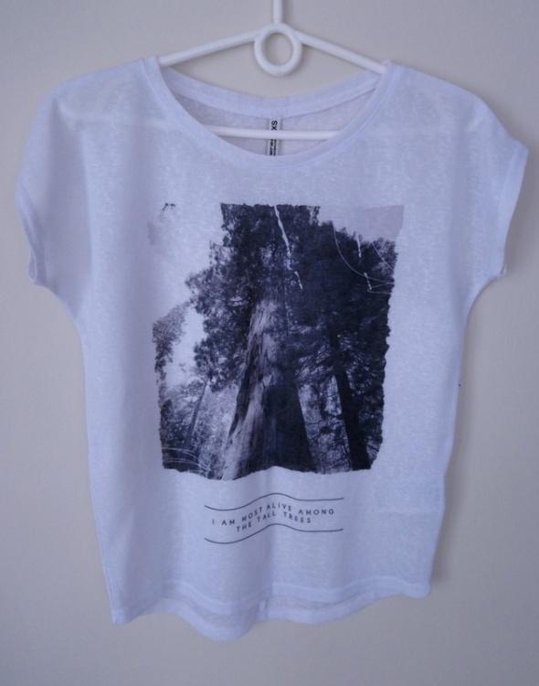 Koszulka bluzka z krótkim rękawem biała koszulka z nadrukiem Di...