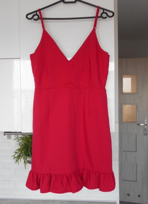 f5b84233b4 Suknie i sukienki Missguided nowa sukienka malinowa czerwona falbanki na  ramiączkach elegancka