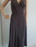 TED BAKER Brązowa sukienka jedwab 38 40...
