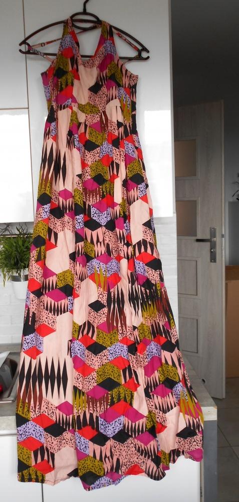 Numph sukienka maxi wzory kolorowa na ramiączkach skandynawska...