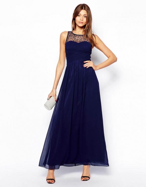 9764ab5e5f LITTLE MISTRESS GRANATOWA MAXI DŁUGA SUKIENKA S w Suknie i sukienki ...