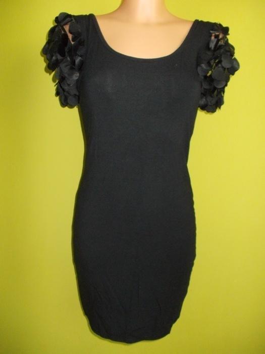 Sukienka tunika ołówkowa z piórkami czarna 36 38...