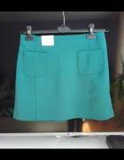 new look prosta niebieska morska spódnica jesień M...