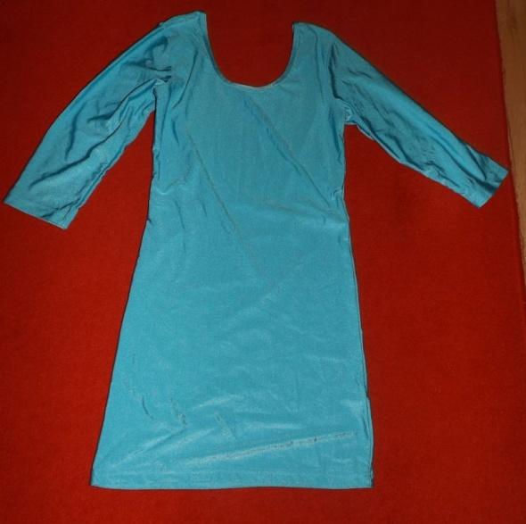 Suknie i sukienki Turkusowa błyszcząca elastyczna mini sukienka M