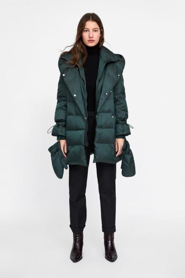 ZARA zielona kurtka puchowa płaszcz puchowy butelkowa zieleń