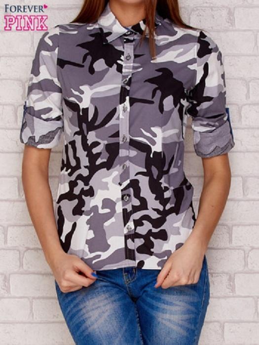 Szara koszula z motywem moro
