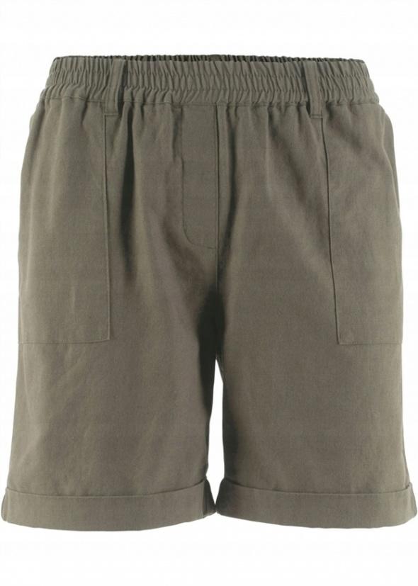 Krótkie spodenki szorty na gumce khaki len i bawełna...