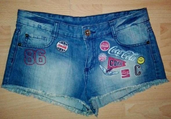 Spodenki COCA COLA krótkie spodenki jeans Cieniowane naszywki M
