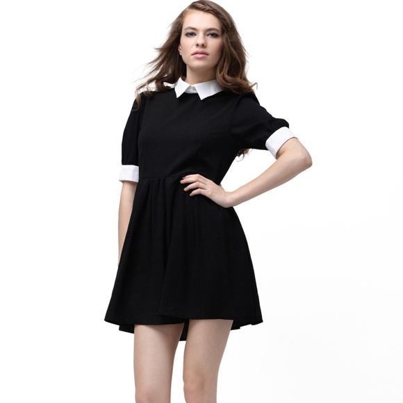 ROMWE retro sukienka czarna biały kołnierzyk mini rozm S 36 NOWA
