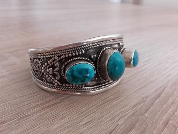 Autorska srebrna bransoleta z turkusami naturalnymi...