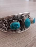 Autorska srebrna bransoleta z turkusami naturalnymi
