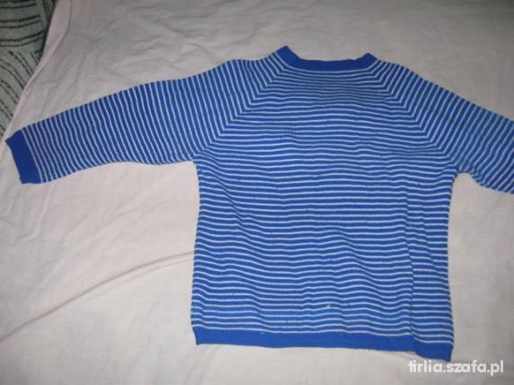 Sweterek w paski chabrowo białe dla dziecka