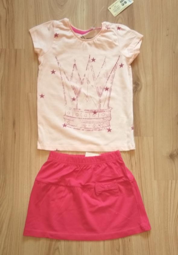 Nowy komplet Bluzka różowa i różowa spódniczka 98 104