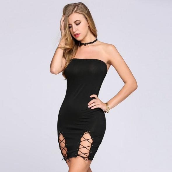 Sznurowana mała czarna mini sukienka 36 S