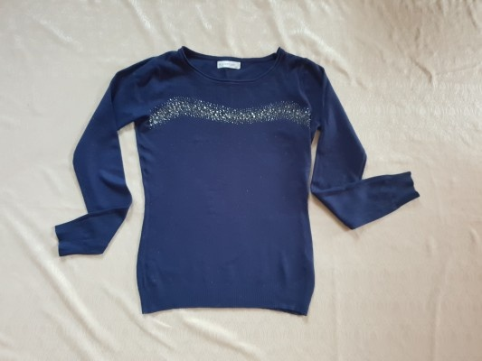 Granatowy sweter s m