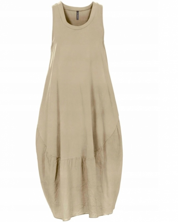Luźna bawełniana beżowa sukienka oversize...