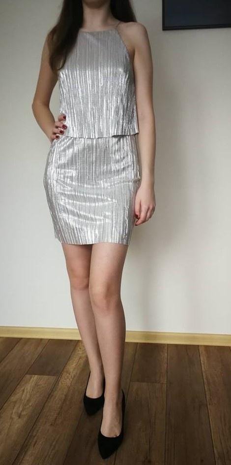 srebrna sukienka asos xs...