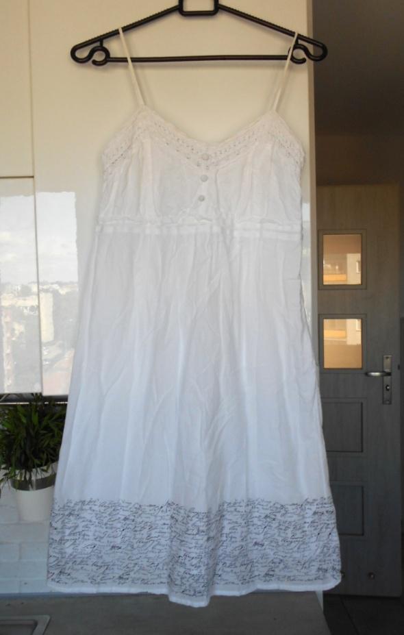S Oliver biała sukienka lato na ramiączkach wzory...