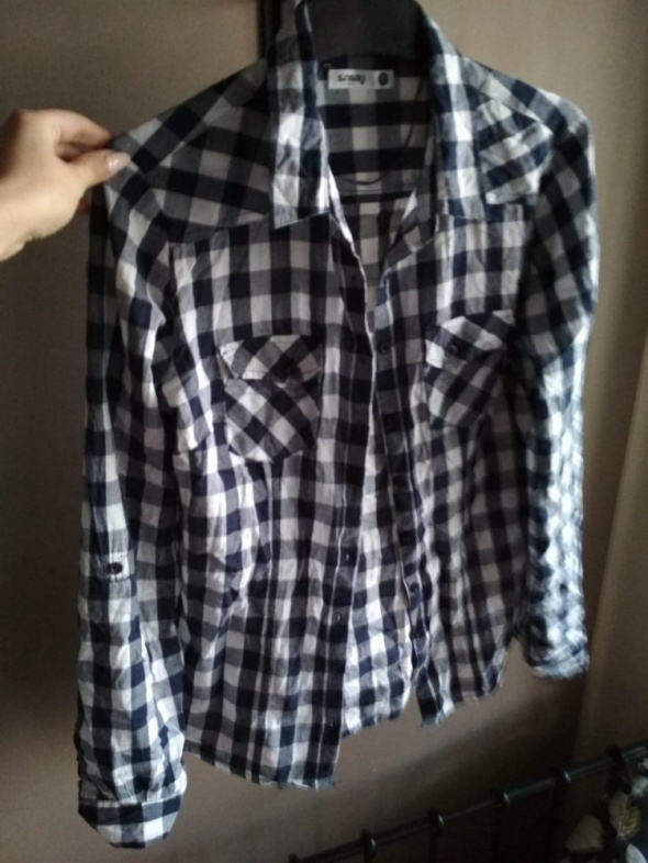 Koszula w kratę granatowa biała SINSAY S...