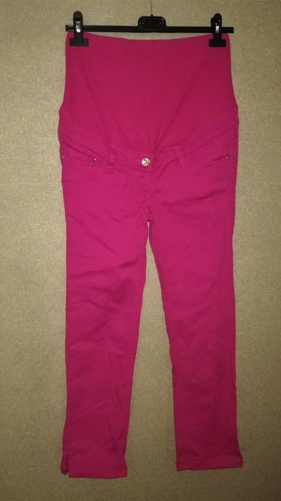H&M Ciążowe różowe spodnie cygaretki z panelem 34
