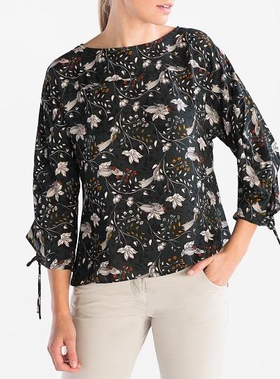 44 NOWA Bluzka w wiosenny wzór ze sznurowaniem przy rękawie C&A...